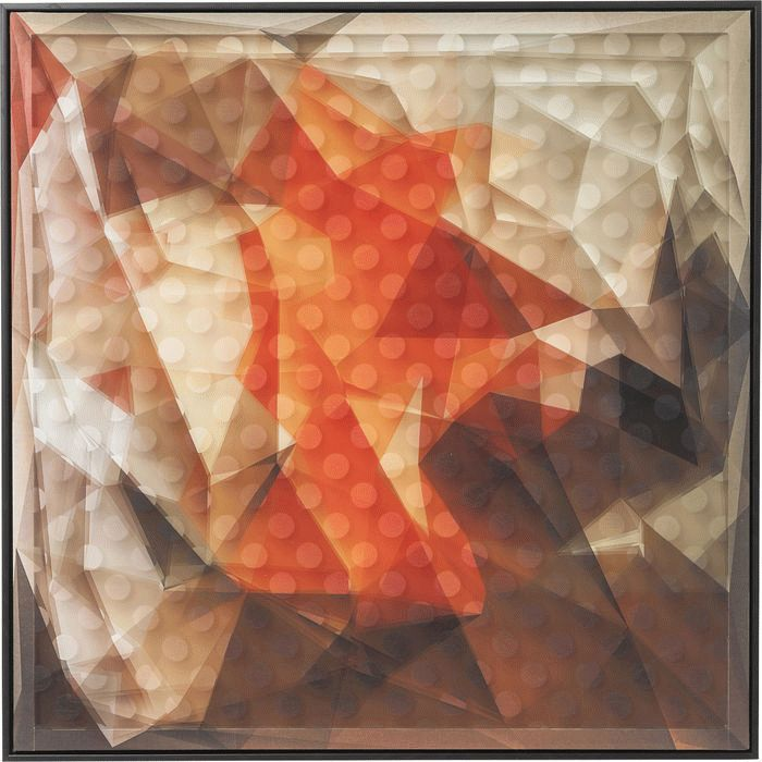 Picture Frame Art 3D Abstract Orange 80x80cm