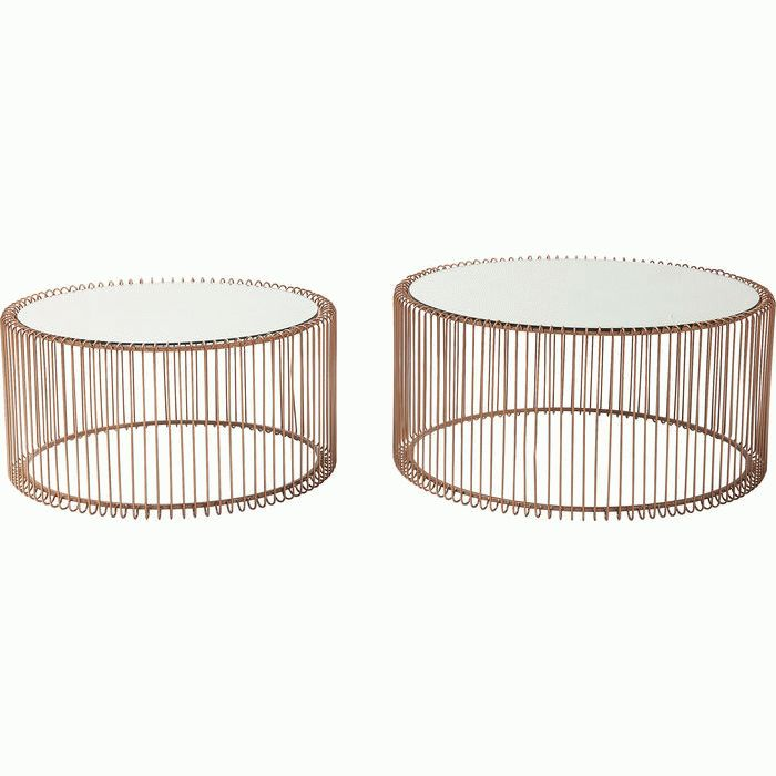 Kare Black Coffee Table: Coffee Table Wire Copper (2/Set)