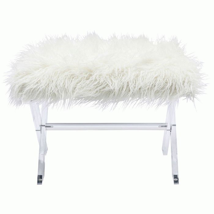 Stool Visible Fur White